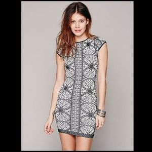 Free People Black and White Bodycon Dress